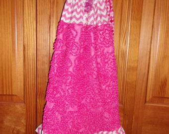 Girl's Pillowcase Style Dress Size 7 Textured Floral Chevron Stripes and Polka Dots with Matching Headband