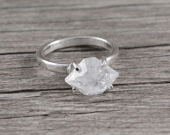 Herkimer diamond ring in sterling silver Raw stone ring Raw crystal ring Rough stone Raw quartz Boho jewelry