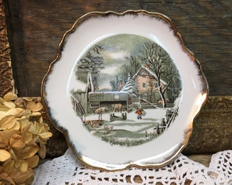 Vintage Currier & Ives Plate/The Farmer's Home-Winter/Wall Plate
