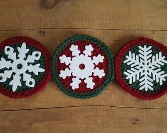 Christmas Snowflake Coasters Crochet Christmas Coasters Crochet Coasters Christmas Coasters Christmas Decor Christmas Crochet