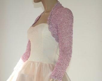 Pink Wedding Bridal Bolero Shrug Lace Crochet Knit  Shrug Pink Silver 3/4 Sleeve