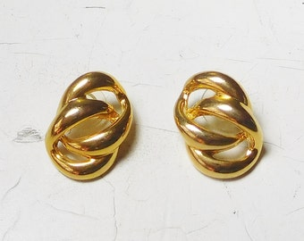"""Gold Tone 90s Stud Post Earrings Dimensional Double Ring Vintage Costume Jewelry 3/4"""" x 1 Inch"""