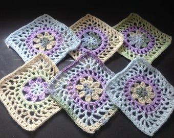 Large Granny squares, new, set of 6, pastel