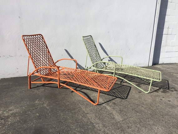 2 Brown Jordan Tamiami Adjustable Chaise Lounge Pool Patio Chair Mid Century Modern Outdoor Furniture Vintage Vinyl Lace Strap Mid-Century