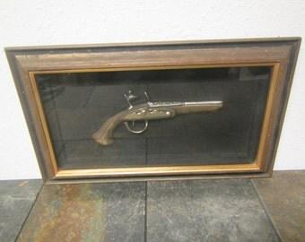 Decorative Turner D319 Flintlock Pistol  replica Wall hanging shadow box  ,