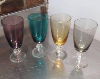 Set of 4 Four Retro Coloured Glasses.