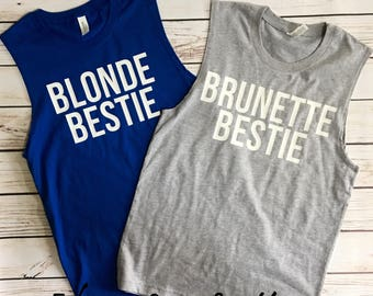 Summer Muscle Tank Top Best Friends BFF Best friends Blonde Brunette