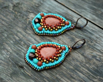 Turquoise Goldstone Earrings Bead Embroidered Earrings Artisan Earrings Beadwork Earrings Seed Bead earrings Embroidery Shimmering earrings