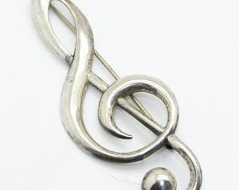 Big Vintage BEAU Sterling Silver TREBLE CLEF Pin Brooch-Staff-Music Teacher Gift-Estate Jewelry!