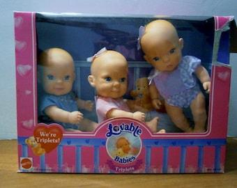 Vintage Mattel Lovable Babies Triplets  baby dolls 1994 still in their original box!