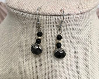 LaLove Designs Black and Silver Beaded Drop Earrings