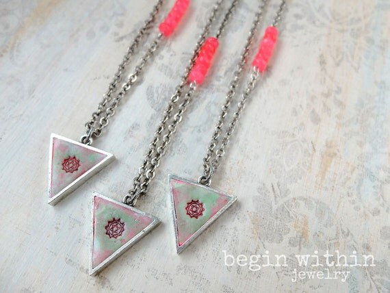 Heart Chakra Necklace | Yoga Necklace | Silver Triangle Necklace | Yoga Jewelry | Yoga Gifts