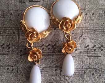 "Clip Earrings- 2"" Long White Dangle Earrings Vintage Beautiful a With Gold Tone Settings Featuring Flower Motif"