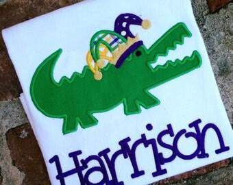 Mardi Gras alligator appliquéd shirt