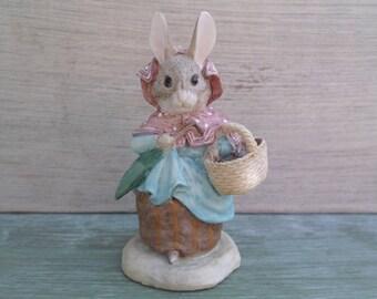 Vintage Beatrix Potter Mrs Rabbit With Basket Figurine, Border Fine Arts, Easter