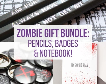 Zombie gift bundle, Zombie birthday present, button badges, engraved pencil and A6 notebook gift set
