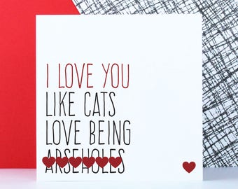 Funny cat Valentine's Day card, anniversary card, sweary cat birthday card, rude cat themed card, I love you like cats love being arse****s