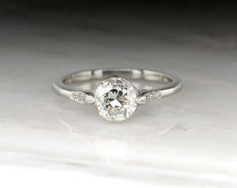 Antique Engagement Ring: 1920s Edwardian / Art Deco Era GIA Certified 1.50 Carat Old European Diamond in Classic Platinum Solitaire R1469