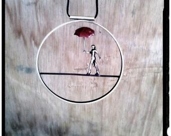 Circle Minimal Necklace, Acrobat Figure With Umbrella Jewelry,Slackline Pendant,Aerialist Handmade Pendant,Tightrope Walker Necklace,Acrobat