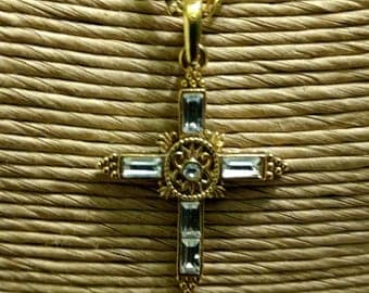Vintage Religious Vatican Library Collection Rhinestone Gold Toned Cross Necklace