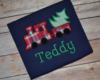 Boy Christmas train shirt, Christmas plaid monogrammed shirt, toddler Christmas shirt, Choo choo train shirt, Christmas tree shirt, toddler