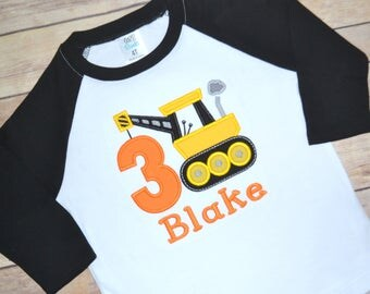 Construction truck birthday shirt, Crane birthday shirt, boy birthday shirt, construction party, toddler birthday tshirt, raglan shirt