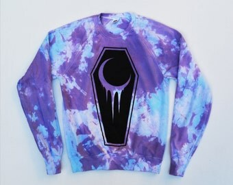 Pastel Goth Crescent Coffin Unisex Sweatshirt Hipster Indie Swag Dope Hype Mens Womens Coffin Dead Afterlife Life Death Crescent Moon