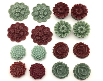 16 pcs resin cabochon flowers ,14mm to 20mm,#FL134