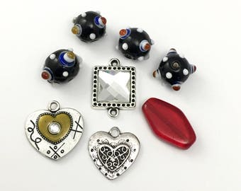 8 mix pendant connector and glass beads, 14mm to 27mm silver tone,#ENSA 194