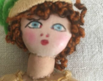 Vintage 20's cute small Rag Doll/20s fabric doll /1920s