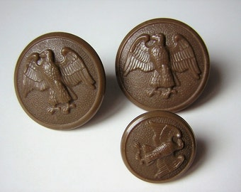 Lot / set of 3 buttons, WAAC Women's Army Auxiliary Corps Uniform Button in Wartime, USA, 1943