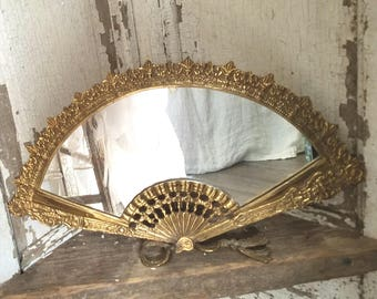 Antique Gold Brass Gilt Fan  Mirror with kickstand back Beautiful Weighty Hollywood Regency c1890