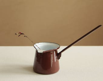 Vintage brown and white enamel pourer with long handle - metal ladle dipper pitcher