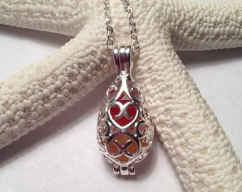 Sea Glass Locket Necklace - Red/Yellow