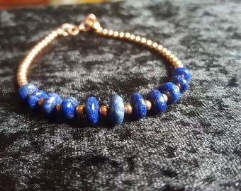 Lapis Lazuli gemstone and copper bracelet