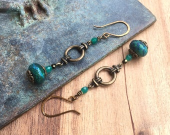 Seagreen & Bronze Dangle earrings