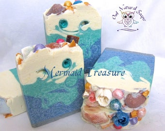 Mermaid Treasure/Mermaid soap/Handmade soap/luxury artisan soap/spa bar soap/soap/gift soap for her/girl soap/goat milk soap/sea salt soap