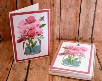 Set of 4 Handmade Note Cards/Stamped/Blank/Floral/Hello/Mason Jars/Mother's Day
