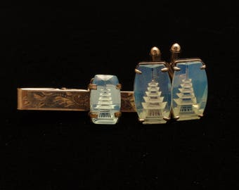 Pagoda Pattern Cuff Links and Tie Bar Set Silver