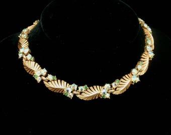 Trifari Vintage Necklace with Aurora Borealis AB Stones