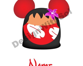 Lilo Mickey Ears customized with name of your choice available as file to print on iron on transfer paper Stitch