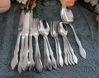 TWILIGHT Oneida 18/8 Usa 1881 Rogers Line Stainless 21pcs 4 Place Settings + Serving Spoon Excellent
