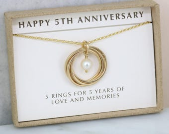 5th anniversary gift for her, 5 year anniversary gift for wife, gold necklace girlfriend - Lilia