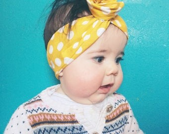 Yellow Polka Dot Baby Wire Headband