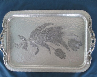 Vintage Rodney Kent Serving Tray Hammered Aluminum Platter Butler Tray Dinnerware Decorative Tray Hand Wrought Tray