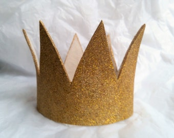 """Small Gold Crown, Sparkle, Child Size, 16.5"""" Where the Wild Things Are, Max, Max's Crown,  King Queen, Crown, Costume, kids, gliter, Prince"""