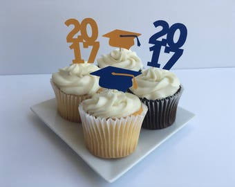 Graduation Cupcake Toppers - Cap and 2017
