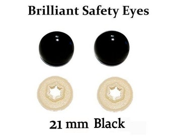 21mm Safety Eyes Black Brilliant with Round Pupil (One Pair)