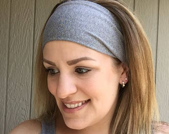 Adjustable Workout Headwrap. Wide Headband. Nonslip Workout Headband. Sweat wicking headband. Yoga Headwrap. // solid grey