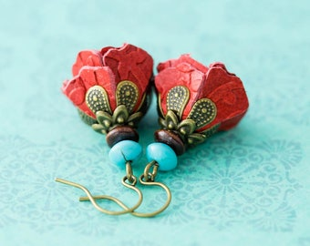 Boho Red Leather Flower Earrings with Turquoise and Wooden Beads, Cowgirl Earrings Flower Child Earrings, Flower Earrings